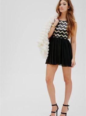 Черное с золотом короткое платье