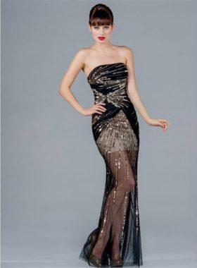 Черное с золотом длинное платье