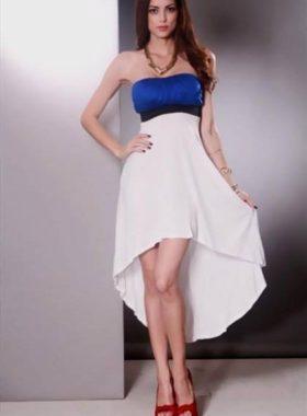 Белоголубое длинное платье