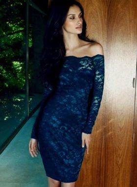 Синеее длинное платье