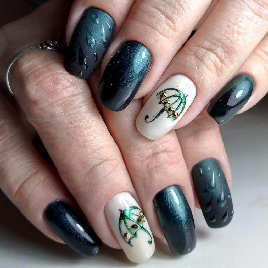 Сине-зеленые оттенки маникюра