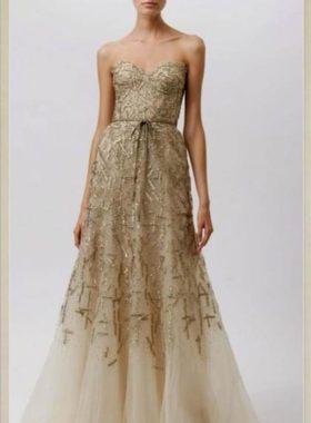 Золотое длинное платье