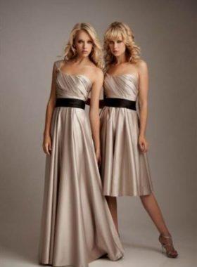 Золотое длинное и короткое платье