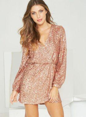 Золотое короткое платье