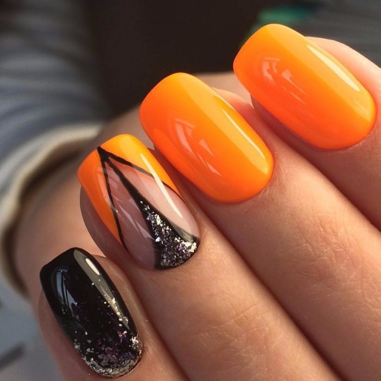 Оранжевые оттенки в осеннем дизайне ногтей