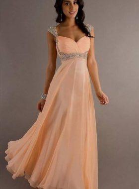 Персиковое длинное платье