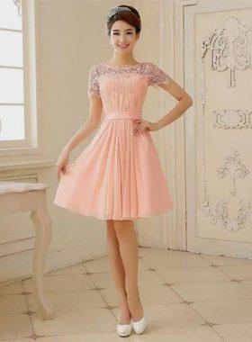 Персиковое короткое платье
