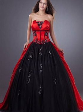 Пышное красное с черным платье