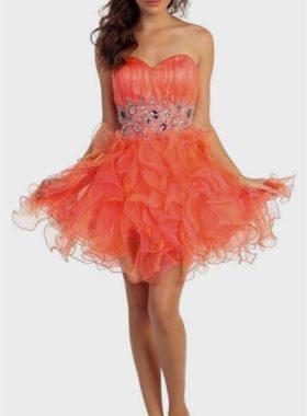 Пышное оранжевое платье