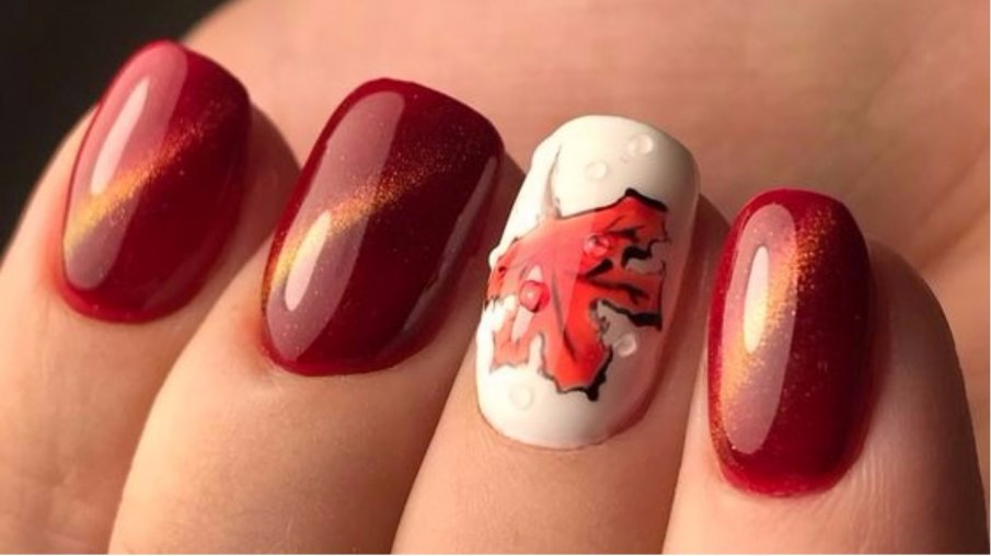 Красный маникюр на осень