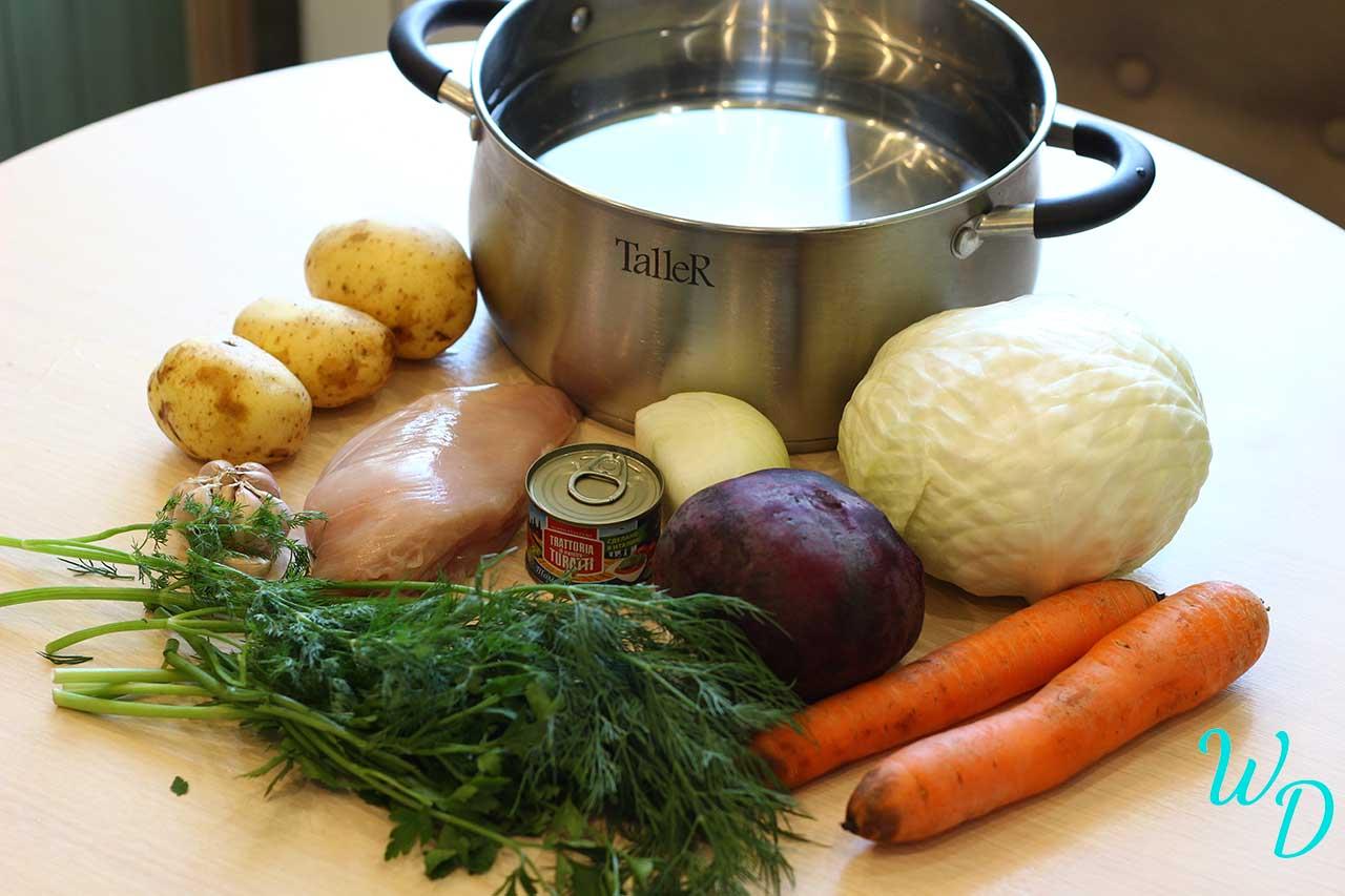 Ингредиенты для борща с курицей