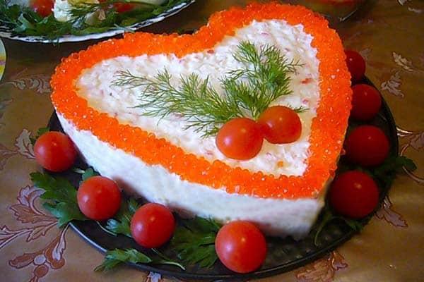 Салат с кальмарами «От всего сердца» к Новому году
